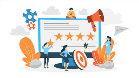 Illustration pour Reputation management concept. Building relationship with people and improving customer loyalty. Idea of online rating and feedback. Flat vector illustration - image libre de droit