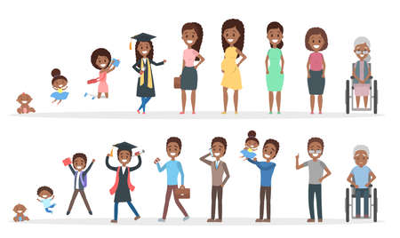 Photo pour Male and female african american character generation set. Human in different ages from baby to old person. From young to elderly. Life cycle. Isolated flat vector illustration - image libre de droit