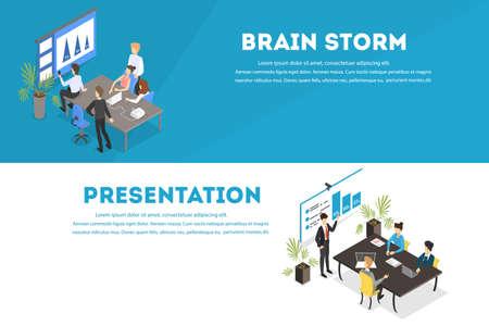 Illustration pour Business teamwork set. People working in team - image libre de droit
