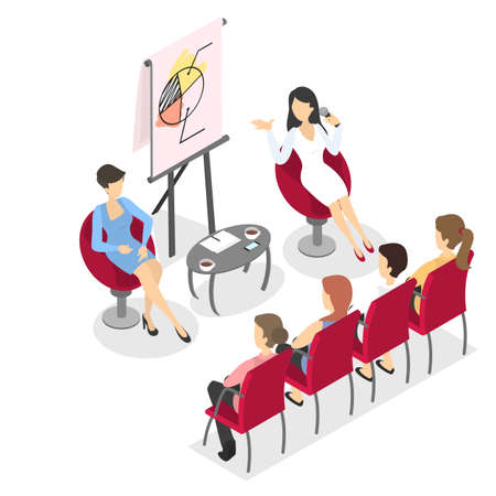 Illustration pour Business people work in team, brainstorm and make up future strategy. Presentation demonstration on the conference with diagram. Isolated vector isometric illustration - image libre de droit