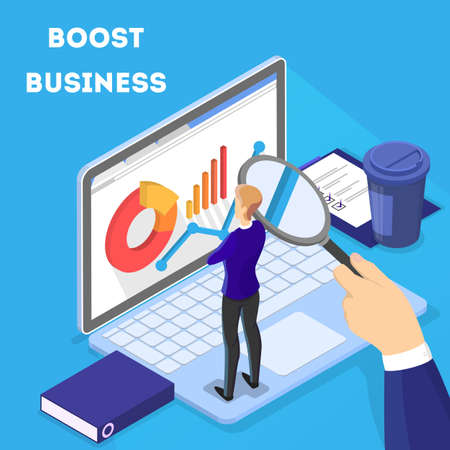 Illustration pour Business concept. Work wih data and financial operations on laptop. Audit, brainstorm and strategy. Isolated vector isometric illustration - image libre de droit