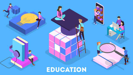 Ilustración de Knowledge and education concept. People learning online in university. Science and brainstorming. Isolated vector isometric illustration - Imagen libre de derechos