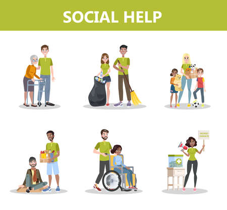 Illustrazione per Volunteer help people set. Collection of charity - Immagini Royalty Free