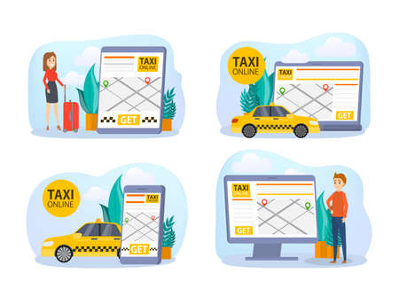 Ilustración de Taxi booking online set. Order car in mobile phone app. Idea of transportation and internet connection. Isolated flat vector illustration - Imagen libre de derechos