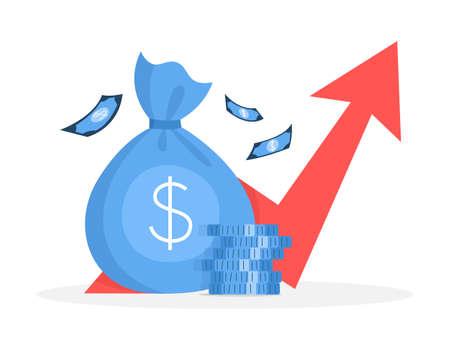 Illustration pour Business finance growth concept. Idea of money increase. Investment and income. Budget profit. Flat vector illustration - image libre de droit