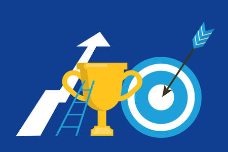 Illustration pour Business concept set. Idea of strategy and achievement in teamwork. Trophy cup and key to success. Brainstorm and strategy. Vector flat illustration - image libre de droit