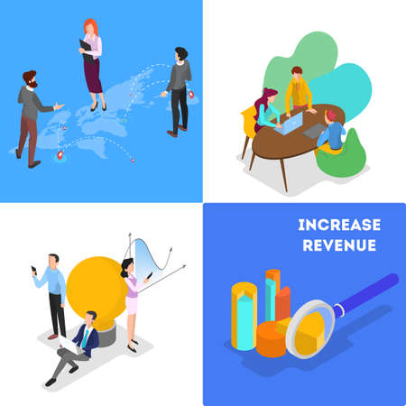 Illustration pour Business concept set. Idea of strategy and achievement in teamwork. Brainstorm and strategy. Isolated vector isometric illustration - image libre de droit