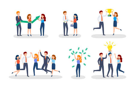 Illustration pour Business concept. Idea of strategy and achievement in teamwork. Brainstorm and work process. Isolated vector isometric illustration - image libre de droit