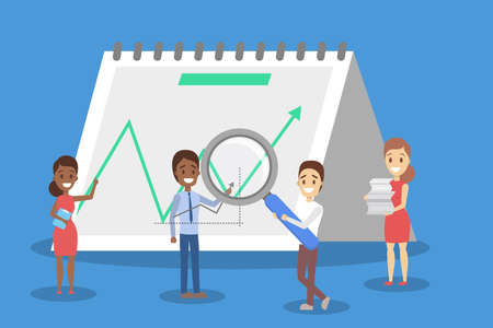 Illustration pour Business concept. Idea of strategy and achievement in teamwork. Brainstorm and success. Isolated vector flat illustration - image libre de droit