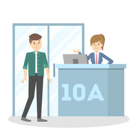 Illustration pour Man standing at the airport gate. Boarding on the airplane. Idea of travel and trip. Vector flat illustration - image libre de droit