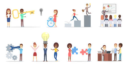 Illustration pour Business people concept set. Idea of strategy and achievement in teamwork. Brainstorm and success. Isolated vector flat illustration - image libre de droit