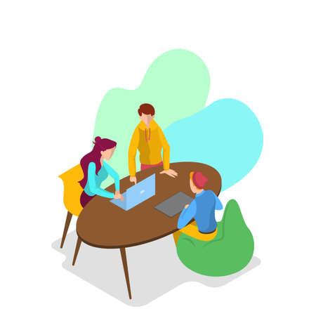 Illustration pour Business concept. Idea of strategy and achievement in teamwork. Brainstorm and strategy. Isolated vector isometric illustration - image libre de droit