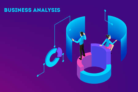 Illustration pour Business concept. Work wih data and financial operations. Audit, brainstorm and strategy. Modern technology and artificial intelligence. Isolated vector isometric illustration - image libre de droit