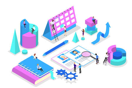 Illustration pour Business concept. Idea of strategy and achievement in teamwork. Brainstorm and training. Isolated vector isometric illustration - image libre de droit