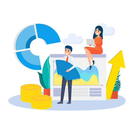 Illustration pour Business concept. Work wih data and financial operations. Audit, brainstorm and strategy. Modern technology. Isolated vector flat illustration - image libre de droit