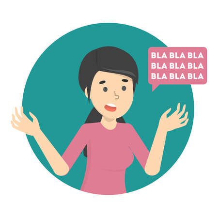 Illustration pour Woman talk to much with speech bubble. Idea of gossip and communication. Talkative female character. Isolated flat vector illustration - image libre de droit