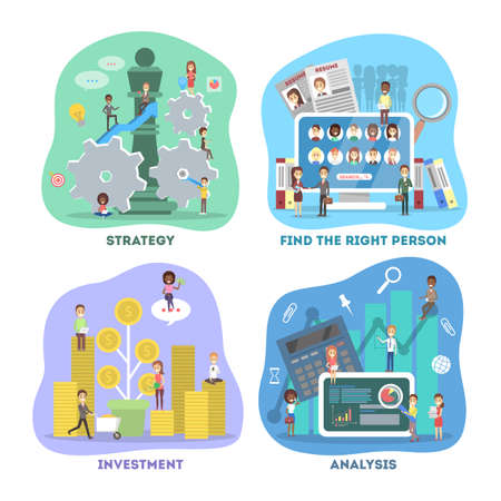 Illustration pour Business concept set. Work in team and making financial operations. Investment, recruitment, analysis and strategy. Vector flat illustration - image libre de droit