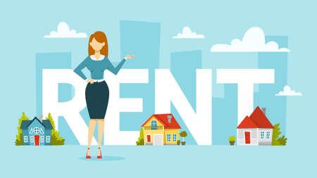Illustration pour Rent a house concept. Idea of real estate - image libre de droit