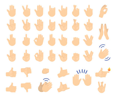 Illustration pour Hand gesture set. Collection of human palm showing various sign. Thumb up, fist and peace symbol. Isolated vector illustration in cartoon style - image libre de droit