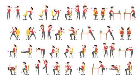 Ilustración de Office exercise set. Body workout for office - Imagen libre de derechos