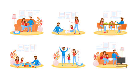 Illustrazione per Couple on different activity set. Father, mother and child spend time together, watching TV and play with cat. Young family at home. Isolated flat vector illustration - Immagini Royalty Free