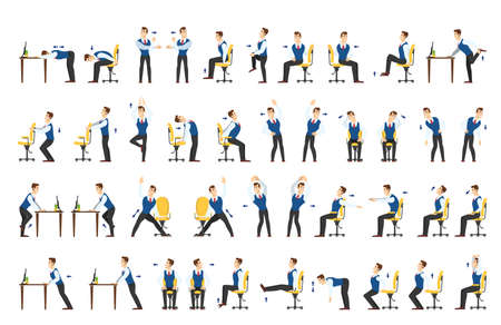 Illustration pour Office exercise set. Body workout for office worker. Neck, shoulder and back stretch. Isolated vector cartoon illustration - image libre de droit