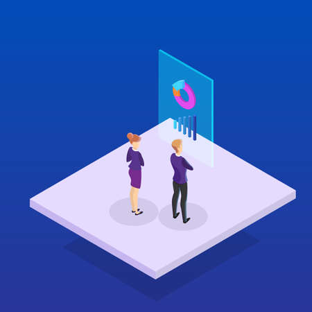 Illustration pour Business concept. Work wih data and financial operations. Audit, brainstorm and strategy. Modern technology. Isolated vector isometric illustration - image libre de droit