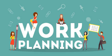 Illustration pour Business work planning concept. Idea of strategy and achievement in teamwork. Brainstorm and training. Isolated flat vector illustration - image libre de droit