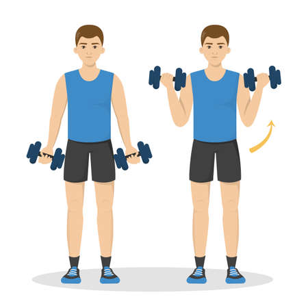 Ilustración de Man doing arm workout using dumbbell. Idea of healthy and active lifestyle. Sport and muscle building. Isolated vector illustration in cartoon style - Imagen libre de derechos