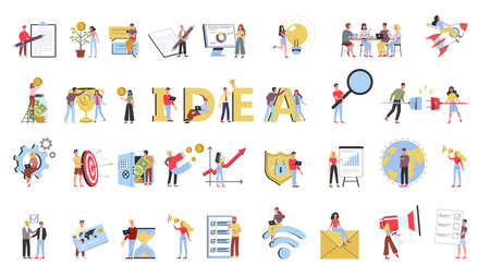 Illustration pour Business teamwork set. Collection of people working in team - image libre de droit