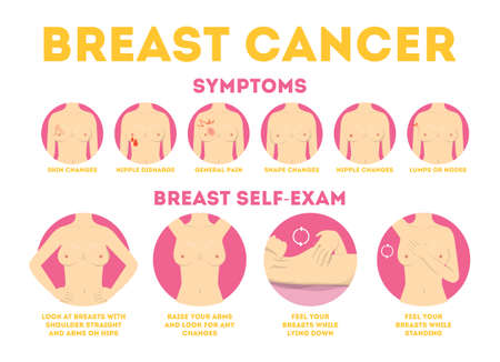 Illustration pour Breast cancer pink infographic for woman awareness. - image libre de droit