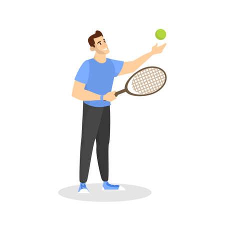 Ilustración de Happy man playing badminton. Player on court - Imagen libre de derechos