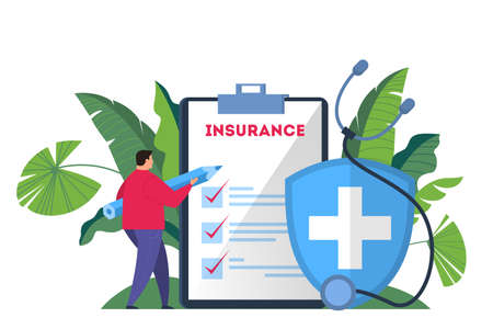 Photo pour Health insurance concept web banner. Man hold a pen standing at the big clipboard and signing a healthcare insurance document on it. Healthcare and medical service. Isolated flat vector illustration - image libre de droit