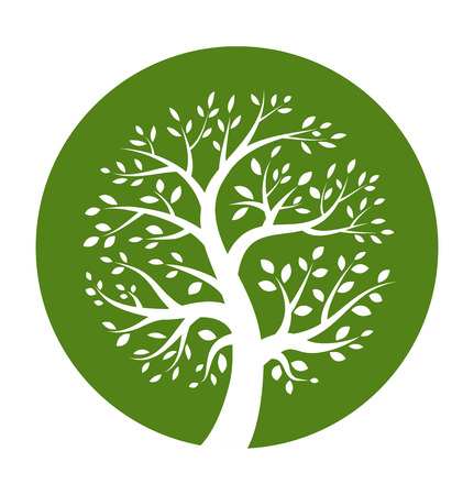 Illustration for White tree icon in green round  - Royalty Free Image