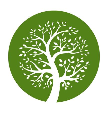 Ilustración de White tree icon in green round  - Imagen libre de derechos