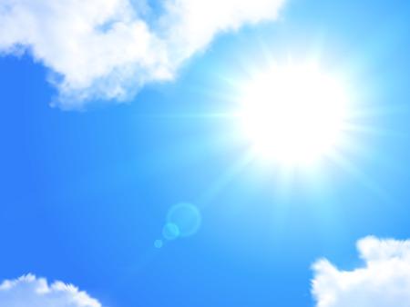 Illustration pour Sun and sky realistic background  Vector Illustration  - image libre de droit