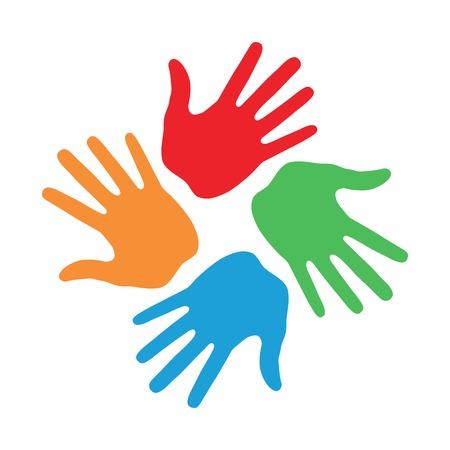 Illustration pour Hand Print icon 4 colors - image libre de droit