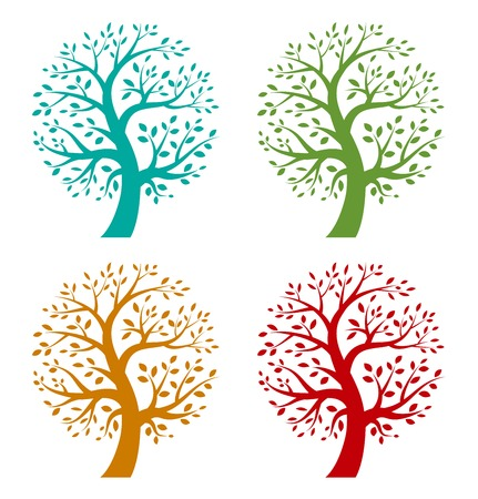 Illustration for Set of Colorful Season Tree icons - Royalty Free Image
