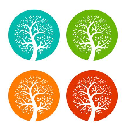 Illustration pour Set of Colorful Season Tree icons - image libre de droit