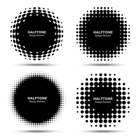 Illustration pour Set of Abstract Halftone Design Elements - image libre de droit