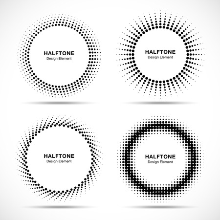 Illustrazione per Set of Black Abstract Halftone Circles Logo, vector illustration - Immagini Royalty Free