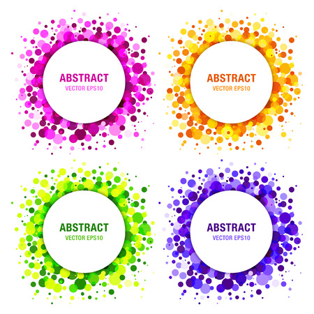 Illustration pour Set of Bright Abstract Circles Frames Design Elements, cosmetics, soap, shampoo, perfume, medical, label background - image libre de droit