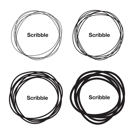 Illustrazione per Set of Hand Drawn Scribble Circles - Immagini Royalty Free
