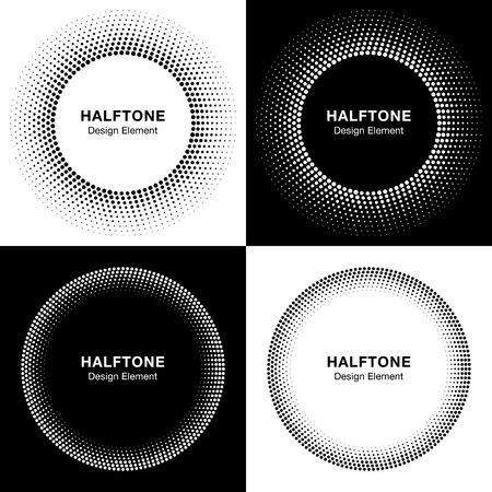 Illustration pour Set of  Abstract Halftone Circles, Logo Design Elements - image libre de droit