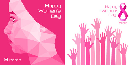 Happy International Womens Day Greeting Card Design. Pink hands background for 8 March Day.