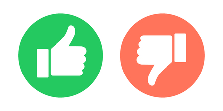 Illustrazione per Do and Don't symbols. Thumbs up and thumbs down circle emblems. Vector illustration. - Immagini Royalty Free