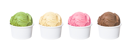 Photo for Ice cream scoops in white cups of chocolate, strawberry, vanilla and green tea flavours isolated on white background (clipping path included) - Royalty Free Image