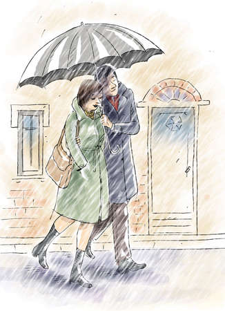 A couple are walking under the rain with an umbrella