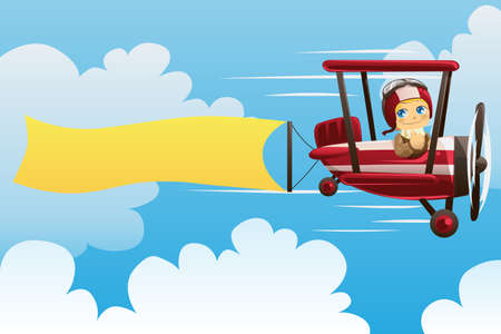 An illustration of a pilot on an airplane carrying a blank banner