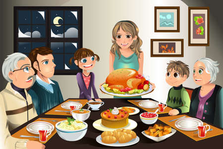 A illustration of a family having a Thanksgiving dinner together